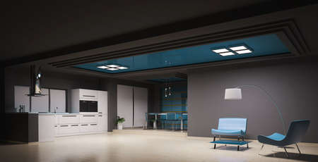 Interior of modern kitchen 3d render photo