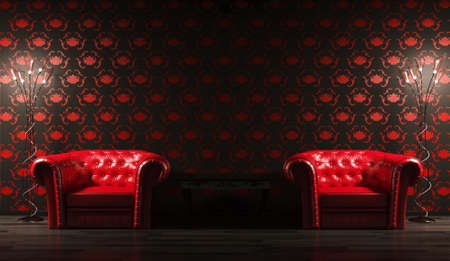 Two red leather armchairs,table and floor lamps 3d render Stock Photo