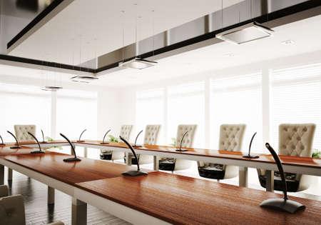 conferentie: conferentie kamer interieur 3d render