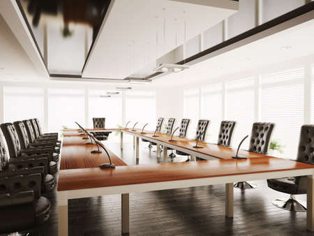 conference room with black armchairs interior 3d render