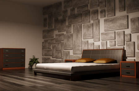 bedroom bed: bedroom interior 3d render Stock Photo