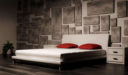 bedroom interior 3d render photo