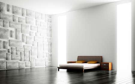 Modern bedroom with big windows interior 3d