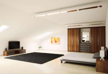 Modern bedroom interior penthouse 3d render Stock Photo - 6198254