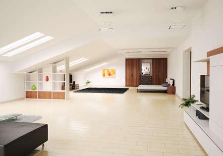 Modern Interior of penthouse 3d render photo