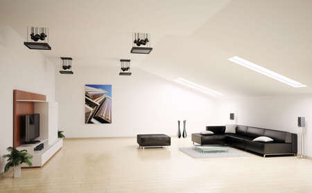 Living room penthouse interior 3d render photo