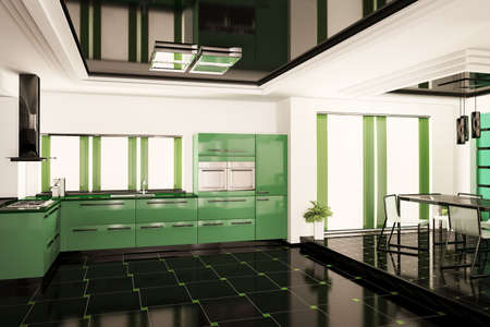 Modern kitchen in green interior 3d render photo