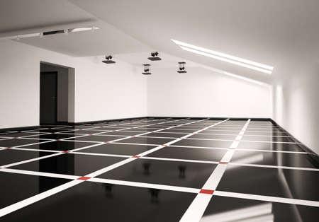 pavimento gres: Attico vuoto interiore 3d rendering