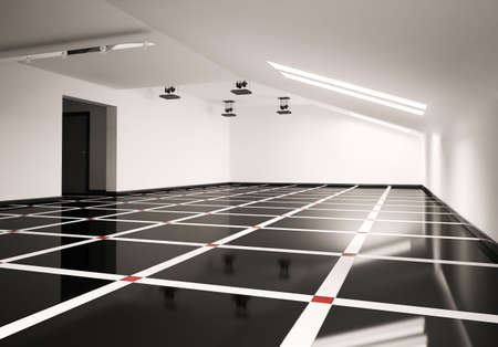 floor tiles: Empty penthouse interior 3d render