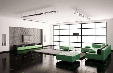 Interior of living roomwith green sofa 3d render photo