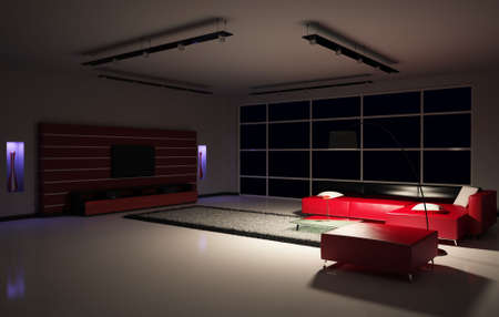 dark interior: Modern Living room interior 3d render Stock Photo