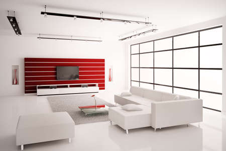 modern lamp: Modern Living room in white red interior 3d render