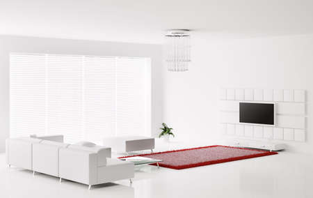 Interior of white living room with red white carpet 3d render Stock Photo - 6260575