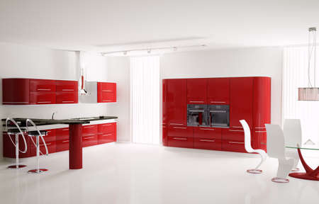 Interior of modern red kitchen with bar table and stools 3d photo