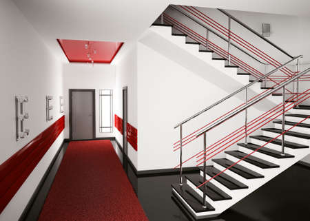 Modern interior of hall with stair 3d render photo