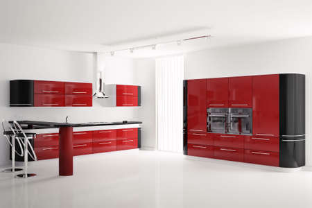 Interior of modern red black kitchen with bar table and stools 3d