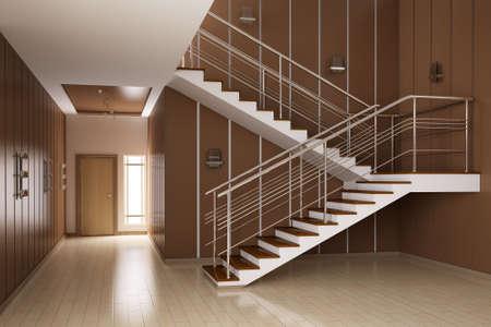Int�rieur moderne de salle avec escalier de rendu 3d  Banque d'images