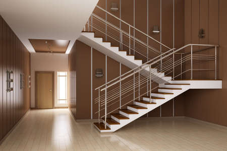 Modern interior of hall with stairs 3d render photo