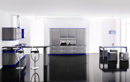 blue white kitchen: Interior of modern gray blue kitchen with bar table and stools 3d