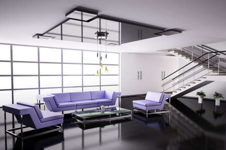 Interior of hall with violet sofa and armchairs 3d render Stock Photo - 6340574