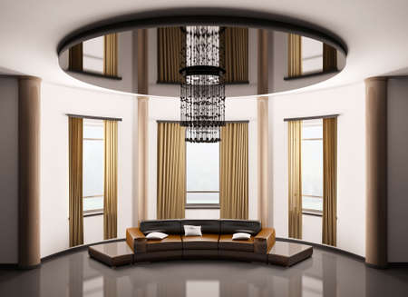 Round room with round brown sofa interior 3d render Stock Photo - 6340575