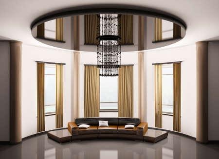 Round room with round brown sofa interior 3d render photo
