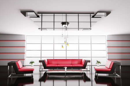Interior of hall with red black sofa and armchairs 3d render Stock Photo