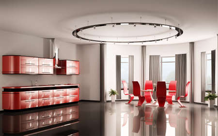 Modern red kitchen with dining table and six chairs 3d photo