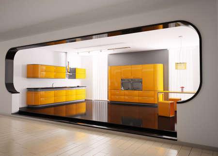 Inter of modern orange gray kitchen 3d Stock Photo - 6340577