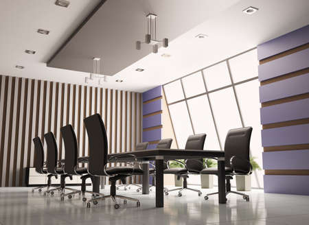 conference room: conference room with eight armchairs interior 3d render Stock Photo