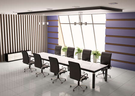 conference room with eight armchairs interior 3d render photo