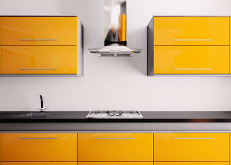 gas cooker: Orange kitchen with sink,gas cooktop and hood 3d Stock Photo