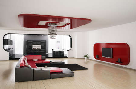 Interior of apartment. Living room, kitchen 3d render Stock Photo