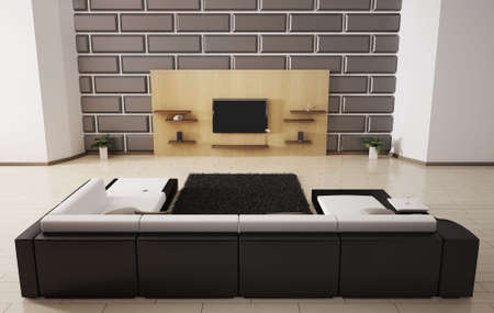 Modern interior with sofa and lcd tv 3d Stock Photo - 6371579