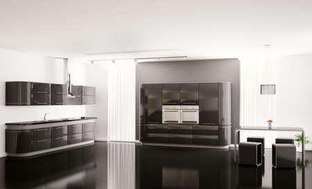 Interior of modern black kitchen 3d render Stock Photo - 6371594