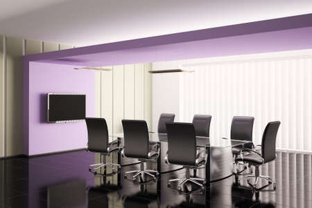 conference room with lcd tv interior 3d render photo