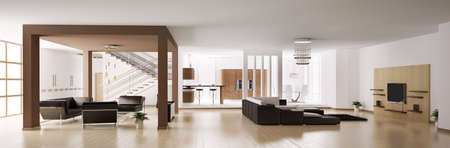 Apartment. Hall, kitchen, living room panorama 3d Stock Photo - 6410717