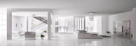 White Apartment interior panorama 3d  photo