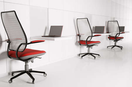 Workplace in white. Laptops,chairs,tables 3d Stock Photo - 6431644