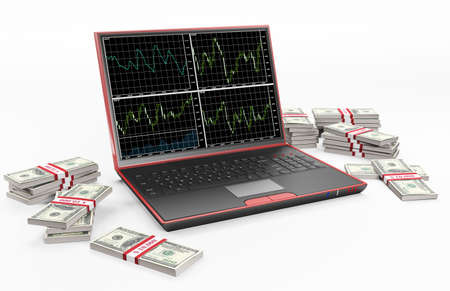 Laptop with forex charts on the screen and stacks of dollars 3d Stock Photo - 6482089