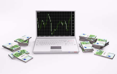 White laptop with forex chart and stacks of euros 3d photo