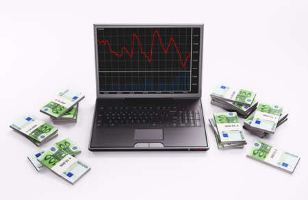 Black Laptop with forex chart and stacks of euro 3d photo