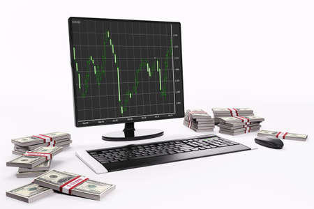 LCD with forex charts,keyboard,mouse and stacks of dollars 3d Stock Photo - 6482091