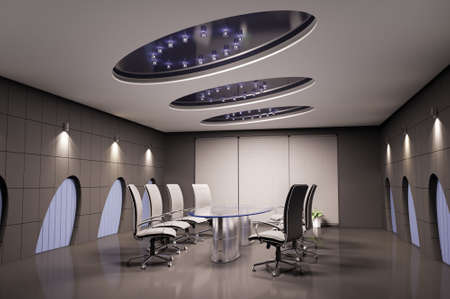 conference room with glass table interior 3d photo