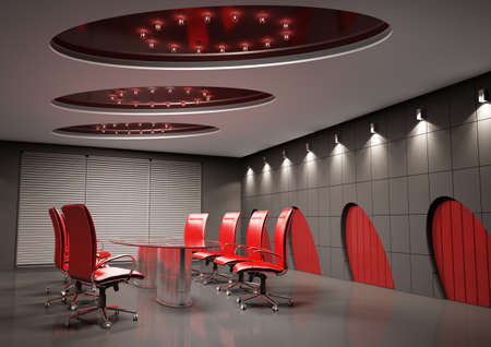 conference room with glass table interior 3d Stock Photo - 6553470