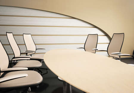Interior with oval table and chairs 3d render photo