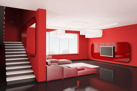 Interior of apartment with stairs 3d render photo