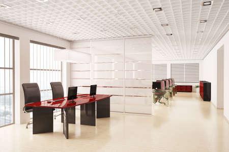 mobiliario de oficina: Procesamiento de oficina moderna con equipos interiores 3d  Foto de archivo
