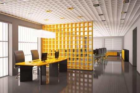 Modern office with computers interior 3d render Stock Photo - 6634483