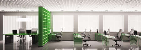 green office: Modern office panorama with computers interior 3d render Stock Photo